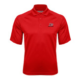 Red Textured Saddle Shoulder Polo-Red Lions Logo
