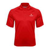 Red Textured Saddle Shoulder Polo-University Logo