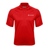 Red Textured Saddle Shoulder Polo-University Logo - Flat