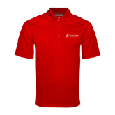 Red Mini Stripe Polo-University Logo - Flat