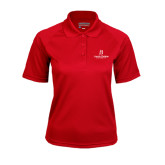 Ladies Red Textured Saddle Shoulder Polo-University Logo