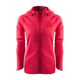 Ladies Tech Fleece Full Zip Hot Pink Hooded Jacket-Red Lions Logo