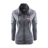 Ladies Sport Wick Stretch Full Zip Charcoal Jacket-Red Lions Logo