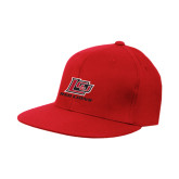 Red Flat Bill Snapback Hat-Red Lions Logo