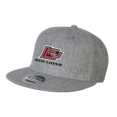 Heather Grey Wool Blend Flat Bill Snapback Hat-Red Lions Logo