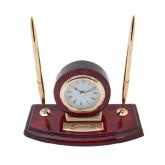 Executive Wood Clock and Pen Stand-University Logo Flat Engraved
