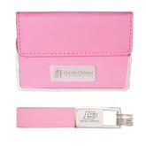 Business Card Case and Key Ring Set Pink-University Logo Flat Engraved