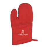 Quilted Canvas Red Oven Mitt-University Logo