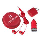 3 in 1 Red Audio Travel Kit-University Logo