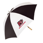 62 Inch Black/White Umbrella-Red Lions Logo
