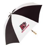 62 Inch Black/White Umbrella-Red Lions Logo