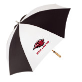 62 Inch Black/White Umbrella-Red Lions Stacked