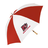 62 Inch Red/White Umbrella-Red Lions Logo