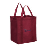 Non Woven Maroon Grocery Tote-Flames Lee University