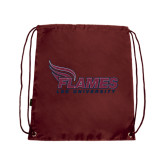 Maroon Drawstring Backpack-Flames Lee University