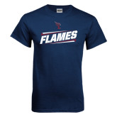Navy T Shirt-Slanted Flames w/ Logo