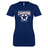 Next Level Ladies SoftStyle Junior Fitted Navy Tee-Womens Soccer Champions