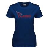 Ladies Navy T Shirt-Flames Lee University