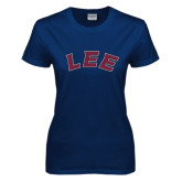 Ladies Navy T Shirt-Arched Lee