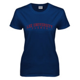 Ladies Navy T Shirt-Arched Lee University Flames