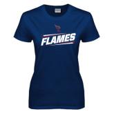 Ladies Navy T Shirt-Slanted Flames w/ Logo