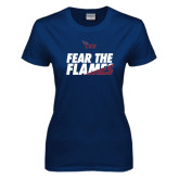 Ladies Navy T Shirt-Fear The Flames