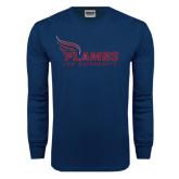 Navy Long Sleeve T Shirt-Flames Lee University