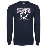 Navy Long Sleeve T Shirt-Womens Soccer Champions