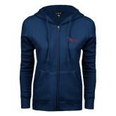 ENZA Ladies Navy Fleece Full Zip Hoodie-Flames Lee University