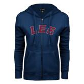 ENZA Ladies Navy Fleece Full Zip Hoodie-Arched Lee