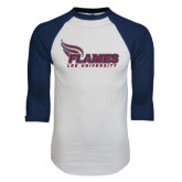 White/Navy Raglan Baseball T-Shirt-Flames Lee University