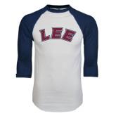 White/Navy Raglan Baseball T-Shirt-Arched Lee
