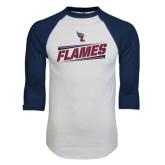 White/Navy Raglan Baseball T-Shirt-Slanted Flames w/ Logo
