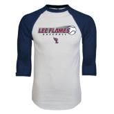 White/Navy Raglan Baseball T-Shirt-Lee Flames Baseball w/ Flying Ball