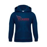 Youth Navy Fleece Hoodie-Flames Lee University