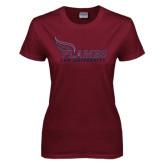 Ladies Maroon T Shirt-Flames Lee University