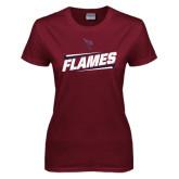 Ladies Maroon T Shirt-Slanted Flames w/ Logo