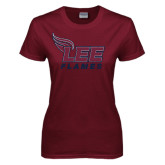 Ladies Maroon T Shirt-Official Logo Distressed
