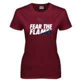Ladies Maroon T Shirt-Fear The Flames
