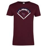 Ladies Maroon T Shirt-Flames Baseball Diamond