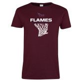 Ladies Maroon T Shirt-Flames Basketball w/ Hanging Net