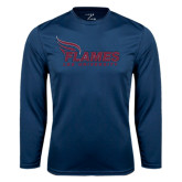 Syntrel Performance Navy Longsleeve Shirt-Flames Lee University