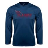 Syntrel Performance Navy Longsleeve Shirt-Flames Lee University