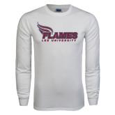 White Long Sleeve T Shirt-Flames Lee University