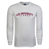 White Long Sleeve T Shirt-Arched Lee University Flames