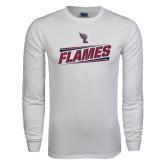 White Long Sleeve T Shirt-Slanted Flames w/ Logo