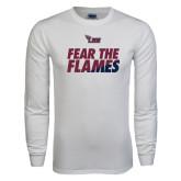White Long Sleeve T Shirt-Fear The Flames