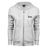 ENZA Ladies White Fleece Full Zip Hoodie-Flames Lee University