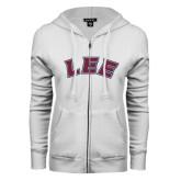 ENZA Ladies White Fleece Full Zip Hoodie-Arched Lee