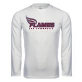 Syntrel Performance White Longsleeve Shirt-Flames Lee University